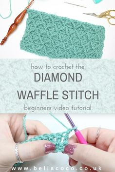 How to crochet the diamond waffle stitch video tutorial by Bella Coco