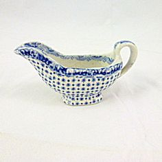 Doll's Victorian Gravy Or Sauce Boat, Blue And White.