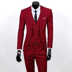 (Jacket+Vest+Pants)Men Slim Fit Suits Plus Size S- 3XL 5c0a34d9ced