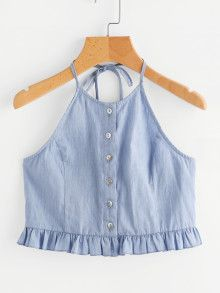 Shop Button Placket Frilled Hem Chambray Halter Top at ROMWE, discover more fashion styles online. Spring Outfits, Trendy Outfits, Girl Outfits, Cute Outfits, Fashion Outfits, Blouse Neck Designs, Western Dresses, Trendy Tops, Cute Shirts