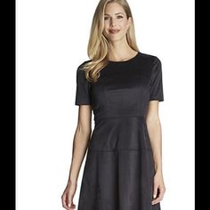"""Black Faux Suede Dress CeCe Black Faux Suede Dress.  This dress features an A-Line Silhouette and Luxe Faux Suede Material.  Approximately 36"""" L  Back Zip Closure  Crew Neckline Short Sleeves  Polyester/Spandex  New with tags  Size:  Marked Size 10 but fits like an 8.  Waist is 15"""" lying flat.  New with tags. CeCe Dresses"""