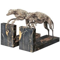 Two 1930s Greyhound Book-Ends by Affortunato Gory