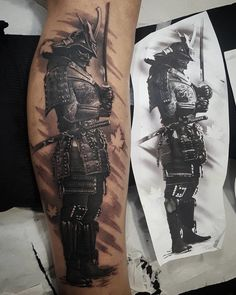 Samurai Tattoo Tattoo and Style Guide Samurai Tattoo Sleeve, Samurai Warrior Tattoo, Warrior Tattoos, Forearm Sleeve Tattoos, Tattoo Sleeve Designs, Leg Tattoos, Arm Band Tattoo, Japanese Warrior Tattoo, Awesome Sleeve Tattoos