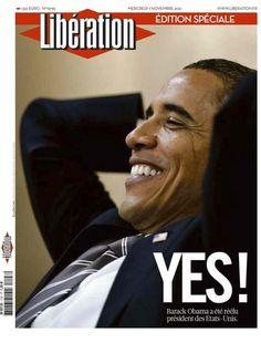 Jolie Une de Libération suite à la réélection de Barack Obama.