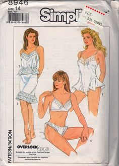 Simplicity 8946  1980s Misses LINGERIE Bra Teddy Panties Camisole Slip Womens Vintage Sewing Pattern Size 14 Bust 36 UNCUT