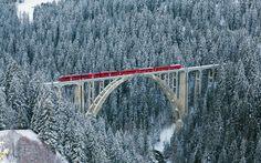 Pociąg, Most, Las, Zima, Śnieg, Szwajcaria