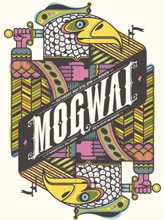 Mogwai Concert Poster  at Turner Hall Ballroom- Milwaukee  May 9. 2009  hand made 4 color silkscreen print  poster measures 18 inches x 24 inches  signed & numbered edition of 134  artist:  Delicious Design League