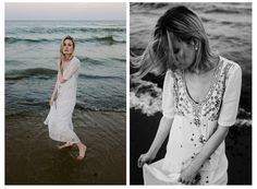 Pretty model in long white dress models in the waves of the ocean | Beautiful Summer Beach Photo Shoot in Ocean Grove and Asbury Park, NJ | Elyse Jankowski Photography | New Jersey Wedding & Engagement Photographer