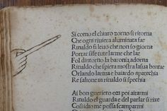 A long-fingered manicule on a manuscript from 1481.
