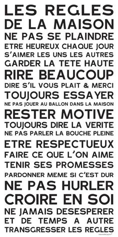 Affiche adhésive - Sticker géant - Poster autocollant Home Rules - manifeste de la Famille: Positive Attitude, Positive Vibes, House Rules, Learn French, Motivation, Sentences, Decir No, Quotations, Affirmations