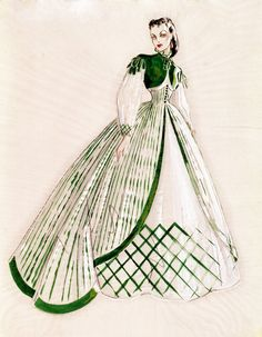 Costume sketch for Vivian Leigh designed by Walter Plunkett. Margaret Mitchell was fond of the color green and wanted the color to be incorporated into the sketches.