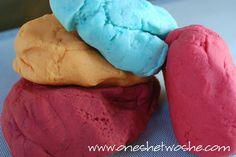 Kool-Aid Play Dough    2 1/2 cups flour  1/2 cup salt  1 tsp. cream of tartar  2 pkg. Kool-Aid  2 cups boiling water  3 TBS. oil