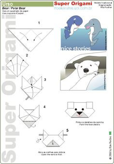 Easy Origami Instructions for Beginners | Origami Polar Bear face folding instructions with 5 step diagram, jpg ...