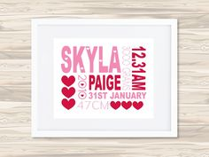 Personalised Birth Details Print by Colour & Spice, $32 (free shipping within Australia)  www.notinshops.com.au #birthprint