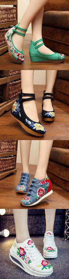 Old Peking Flower Embroidered Flats Cute Casual Shoes, Embroidered Flowers, Corn Salads, Flats, Miniature Dolls, My Style, Jeep, Card Making, Stuff To Buy