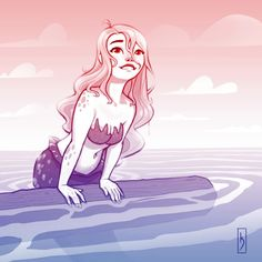Mermay #12 - Fresh air. . #mermay #art #mermaid #blonde #ombre #illustration #drawing #disney #cute #waves #ocean