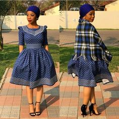 Amazing Shweshwe Print Gown For Women 2019 ShweShwe 1 Setswana Traditional Dresses, South African Traditional Dresses, Traditional Wedding Attire, Traditional Weddings, Latest African Fashion Dresses, African Dresses For Women, African Print Dresses, African Men, African Wedding Attire