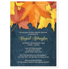 Rustic Autumn Leaves Denim Bridal Shower Invitations for your perfect #BridalShower celebration!   #invitations | Southern country Autumn Bridal Shower invitations, with rustic yellow, orange, and red Fall leaves over a blue denim fabric pattern illustration. These invitations are the perfect pairing of country and the Autumn season. The blue denim is a true denim fabric representation, and the leaves are rustic and imperfect, just as you'd find them in nature.