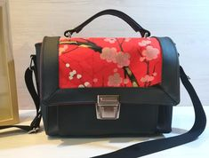 Sac Quadrille noir et coton japonais cousu par La boite à fils de Mélie - Patron Sacôtin