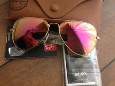 Ray Ban Pink Mirror Lens / Matte Gold Frame Aviator Unisex - NEW
