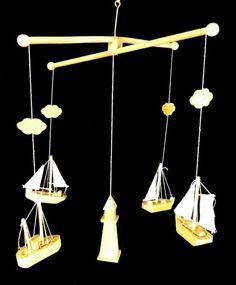 Nautical Boat Mobile Decoration Lighthouse Sailboat Wood Wooden Ship Decor