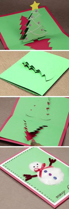DIY Pop Up Christmas Card with Tree and Snowman DIY Christmas Card Ideas for Families DIY Christmas Cards for Kids to MakeNext Post Previous Post 30 DIY Christmas Card Ideas to Make this Holiday Season DIY Pop Up Weihnachtskarte mit Baum. Diy Christmas Cards Pop Up, Paper Christmas Ornaments, Christmas Card Crafts, Kids Christmas, Handmade Christmas, Holiday Cards, Christmas Snowman, Christmas Design, Snowman Tree