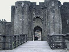 Caerphilly Castle - the outer east gatehouse at Caerphilly, the main entrance to the castle and the south gatehouse leading to the town.
