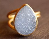 Ice Blue Agate Druzy Ring - Teardrop Ring - Baby Blue Stone, Glacier Ice