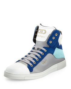 Stephen Calf-Hair High-Top Sneaker, Blue by Salvatore Ferragamo at Neiman Marcus.