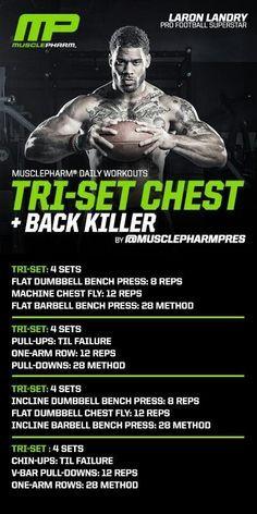 Tri-Set Chest + back killer Chest And Back Workout, Chest Workout Routine, Chest Workouts, Shoulder Workout, Fun Workouts, Chest Routine, Fitness Gym, Muscle Fitness, Trx