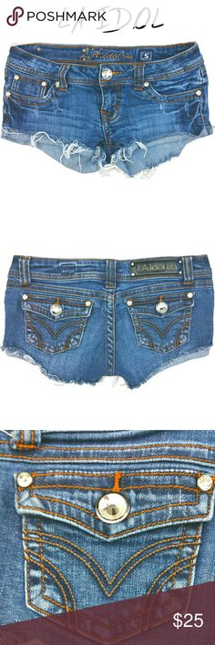 "NWOT! L.A. IDOL - CUT OFF RHINESTONE JEAN SHORTS NWOT! L.A. IDOL - CUT OFF RHINESTONE JEAN SHORTS  FITS SIZE: 27""  (EVERY ITEM IS DRY CLEANED!  EVERY ITEM IS WRAPPED!) LA Idol Shorts Jean Shorts"
