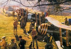Nieuport 28's of 95th Aero Squadron line-up, by James Dietz