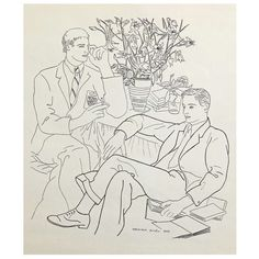 """""""Two Gentlemen with Books,"""" Drawing by Prieto"""