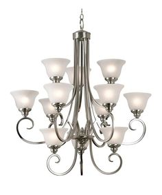 Buy the Kenroy Home Brushed Steel Direct. Shop for the Kenroy Home Brushed Steel Twelve Light Up Lighting Three Tier Chandelier from the Welles Collection and save. Office Lighting, Chandelier Lighting, Brushed Nickel Chandelier, Frosted Glass, Bronze Finish, Glass Shades, Light Up, Ceiling Lights, Steel