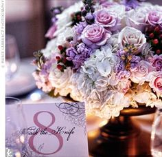centerpieces, maybe make it all lavender/purple then the table cloth and sash navy?