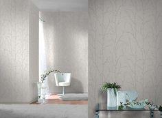 Rasch Wallpaper   Shiny Chic Twig White/Silver   309713