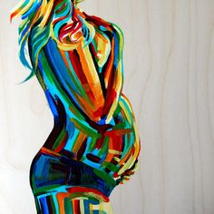 """Pregnancy Painting Maternity Figure 10x10  Birth Midwife Doula Fertility Goddess bright colors wood turquoise red yellow """"Vibrant Stillness"""". $150.00, via Etsy."""