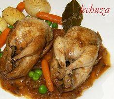 Codornices encebolladas, Receta Petitchef Rabbit Stew, Spanish Food, Mexican Food Recipes, Tapas, Turkey, Thanksgiving, Meat, Chicken, Cooking