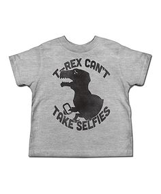 Heather Gray 'T-Rex Can't Take Selfies' Tee - Toddler & Boys