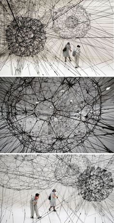 TOMAS SARACENO Galaxy forming along filaments, like droplets along the strands of a spiders la biennale di venezia Contemporary Sculpture, Contemporary Art, Mundo Design, Sculpture Art, Sculptures, Stylo 3d, Instalation Art, Fractal, Textiles