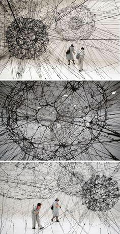 TOMAS SARACENO Galaxy forming along filaments, like droplets along the strands of a spiders la biennale di venezia Contemporary Sculpture, Contemporary Art, Sculpture Art, Sculptures, Stylo 3d, Instalation Art, Fractal, A Level Art, Land Art