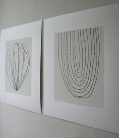 Two 'ink drawing' screenprints, taken from stems of plants in cream and charcoal grey. 57 x 35cm ed.20 They make a nice pair. £130 for the two on Etsy - littleprintpress www.emmalawrenson.com
