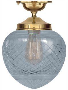 Badrumslampa Ekelundsfäste mässing droppe - Klassisk taklampa - Sekelskifte