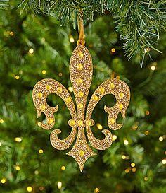 Dillards Trimmings Merry Gras 7 Fancy Gold Fleurdelis Ornament #Dillards
