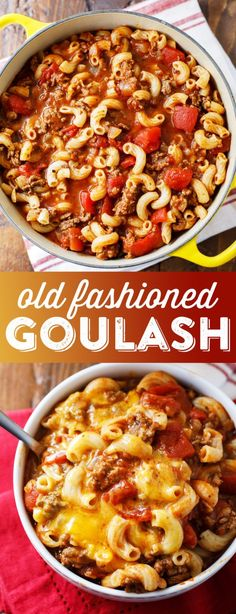 Old Fashioned Goulash Recipe - Johnny Marzetti RecipeYou can find Meal ideas for dinner families and more on our website.Old Fashioned Goulash Recipe - Johnny Marzetti Recipe Crock Pot Recipes, Easy Casserole Recipes, Easy Goulash Recipes, Meatball Recipes, Cooker Recipes, Soup Recipes, Enchiladas, Old Fashioned Goulash, Homemade Sandwich Bread