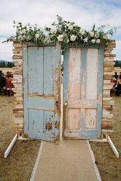 light blue vintage door ceremony entrance