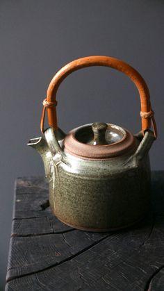 MICHAEL CASSON studio pottery STONEWARE CANE HANDLE TEAPOT c1960s ash glaze | eBay