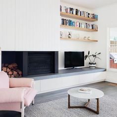 """174 Likes, 5 Comments - The Organised Housewife (@organised_house) on Instagram: """"Cosy + pretty in pink. I would love to have a fireplace in my house 🔥 Image credit:…"""""""