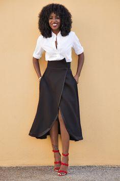 Classic Button-Up Shirt + Origami Midi Skirt
