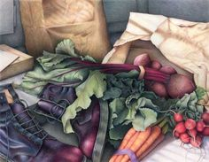 Tossed Salad - art print of color pencil drawing still life - fresh vegetable kitchen art gift for hostess and chef / Ready to Frame Colored Pencil Artwork, Coloured Pencils, Still Life Drawing, Still Life Art, Color Pencil Sketch, Ap Studio Art, Tea Art, Pencil Illustration, Kitchen Art